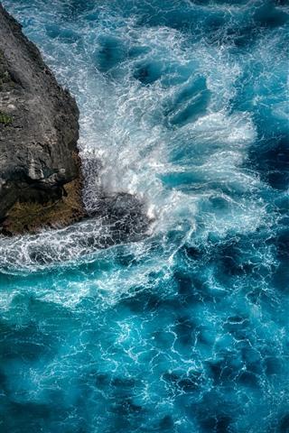iPhone Fondos de pantalla Mar azul, olas, salpicaduras de agua, Nusa Penida.