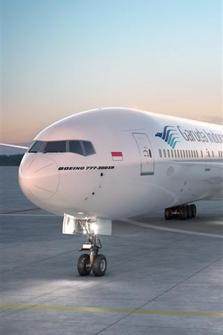 iPhone Fondos de pantalla Boeing 777-300 avión, aeropuerto