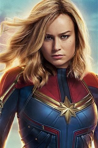 iPhone Wallpaper Brie Larson, Captain Marvel 2019