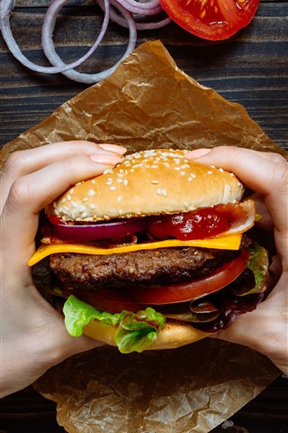 iPhone Fondos de pantalla Hamburguesa, comida rápida, manos.
