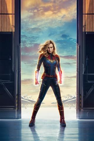 iPhone Fondos de pantalla Capitán Marvel, Brie Larson, película Marvel 2019