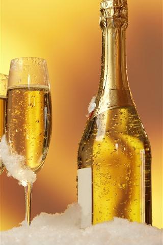 Champagner Flaschen Und Tassen Gold Schnee 1242x2688