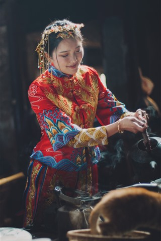 iPhone Fondos de pantalla Casa de té china mujer