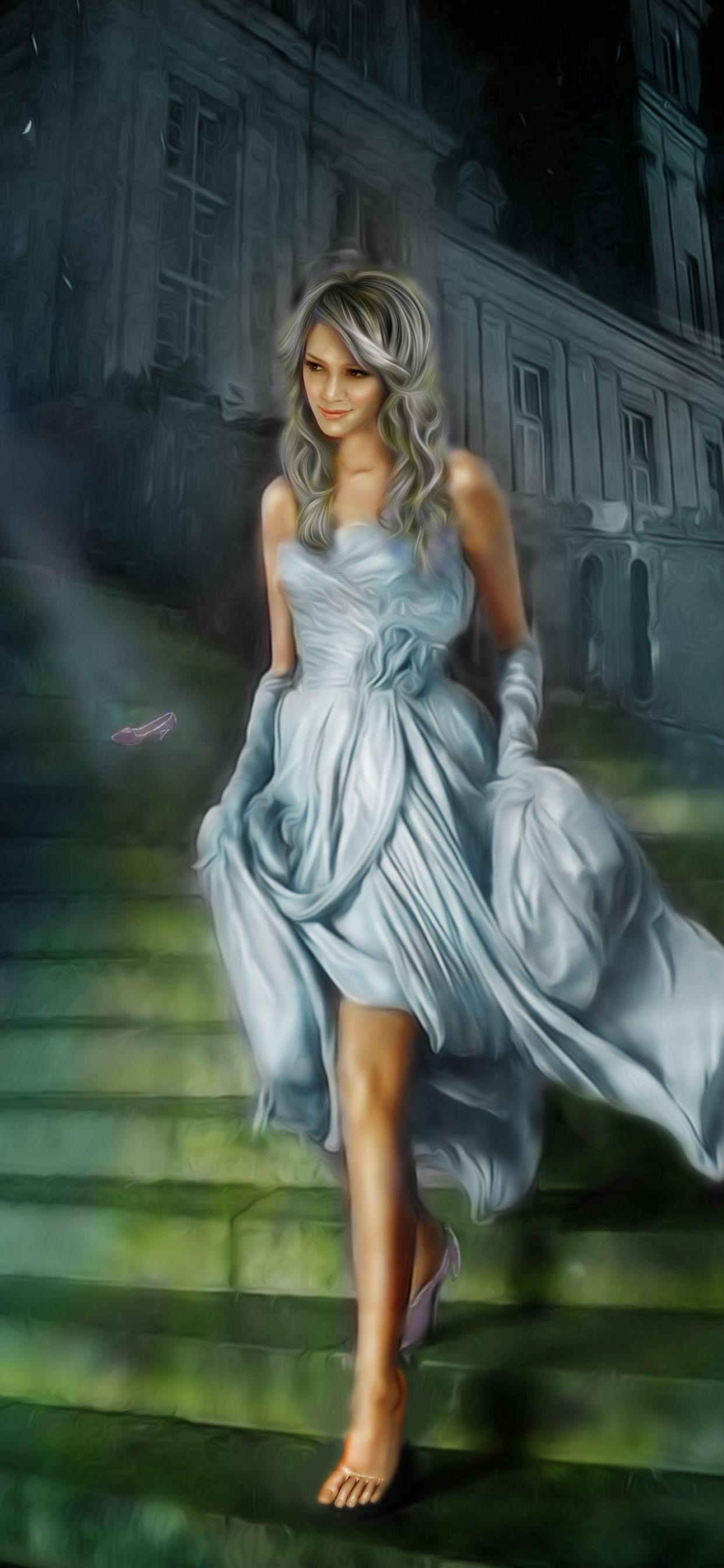 シンデレラ 笑顔の女の子 スカート はしご アート画像 1242x2688