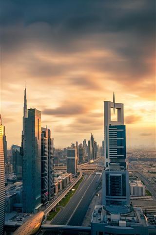 iPhone Fondos de pantalla Ciudad al atardecer, rascacielos, Dubai, UAE