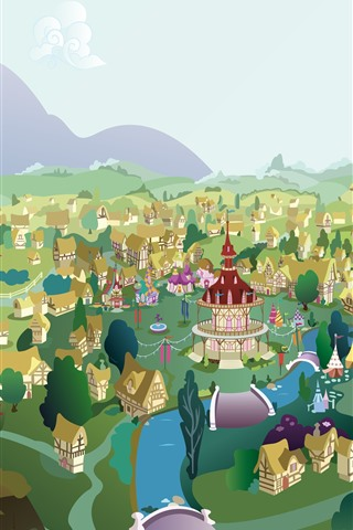 iPhone Wallpaper City, trees, houses, river, mountains, vector drawing