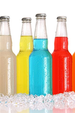 iPhone Wallpaper Colorful bottles, drinks, ice cubes
