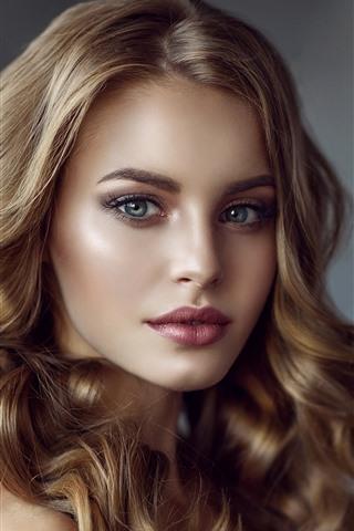 iPhone Wallpaper Curls girl, blonde, face