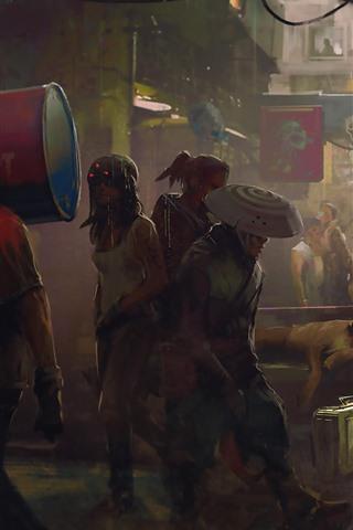 iPhone Fondos de pantalla Cyberpunk 2077, calle de la ciudad, gente, cuadro del arte