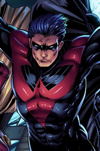 iPhone Wallpaper DC Comics, Red Robin, Robin, Batman, superheroes, art picture