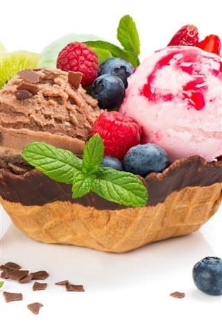 iPhone Wallpaper Delicious ice cream, strawberry, blueberry