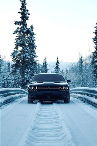 iPhone Fondos de pantalla Vista delantera del coche del regate, nieve, invierno, camino