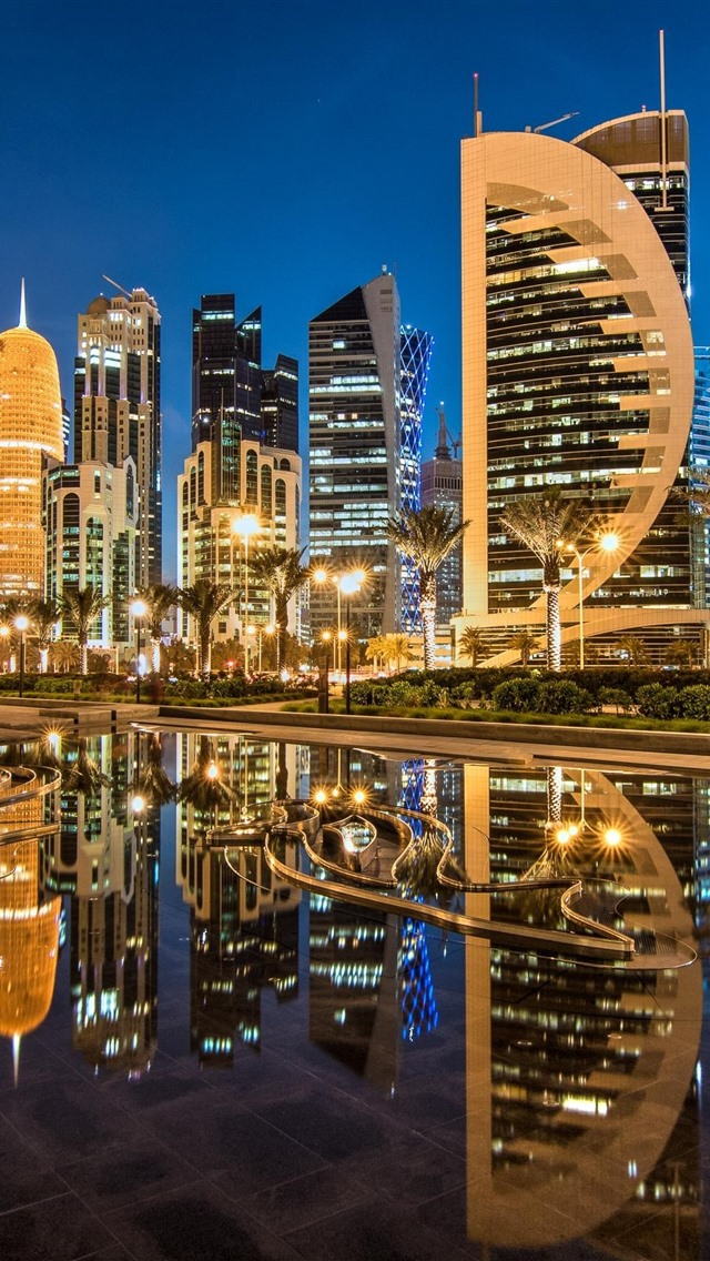 Doha Qatar Sheraton Park Skyscrapers City Nights