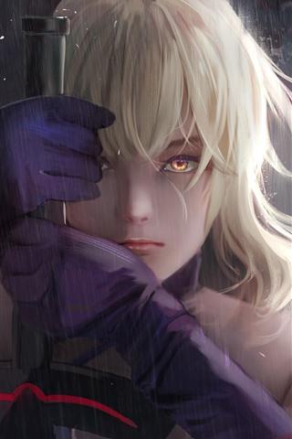 iPhone Wallpaper Fantasy blonde girl, rain, sword