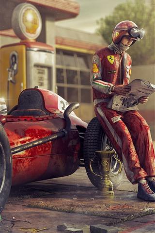 Ferrari F1 Racing Car Retro Driver 1125x2436 Iphone 11 Pro Xs X Wallpaper Background Picture Image
