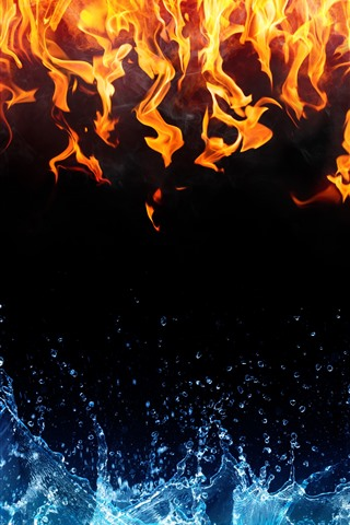iPhone Wallpaper Fire and water, black background