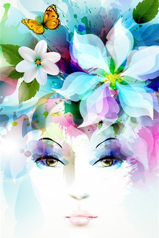 iPhone Wallpaper Flowers, girl, hair, creative picture