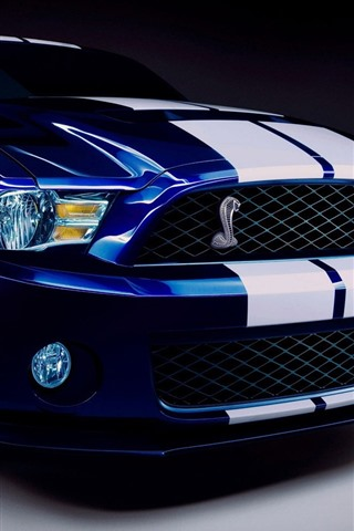 iPhone Wallpaper Ford Mustang blue car front view, headlight