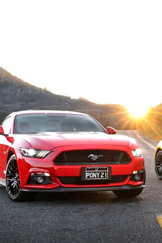 iPhone Wallpaper Ford Mustang red and yellow cars, road, sun rays