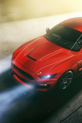 iPhone Wallpaper Ford Mustang red car top view, headlight