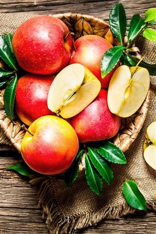 iPhone Wallpaper Fresh red apples, fruit, knife