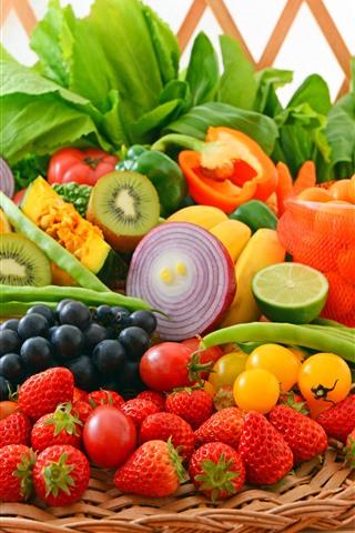 iPhone Wallpaper Fruit and vegetables, strawberry, grapes, kiwi, banana, onion, bean