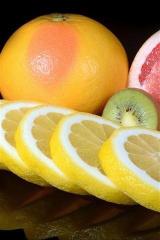 iPhone Wallpaper Fruit, orange, kiwi, grapefruit, lime, slice