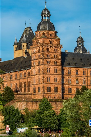 iPhoneの壁紙 ドイツ、バイエルン、ヨハネスブルグ城、木々、川