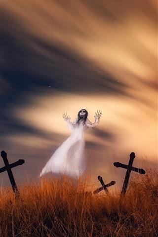 iPhone Wallpaper Ghost, cemetery, cross, horror