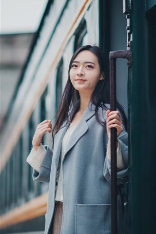 iPhone Wallpaper Girl, coat, train