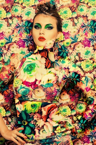 iPhone Wallpaper Girl, makeup, flowers background, art photography