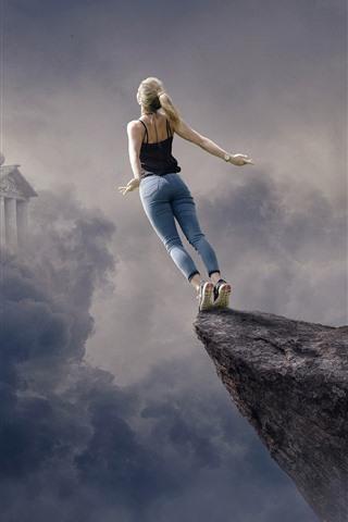 iPhone Fondos de pantalla Chica quiere volar, nubes, castillo, imagen creativa