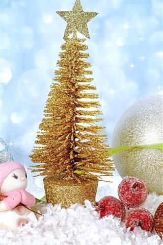iPhone Fondos de pantalla Árbol de Navidad de oro, bolas, juguete, nieve, brillo