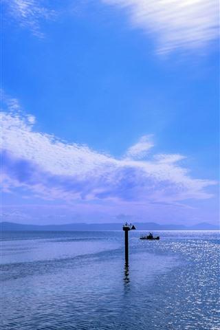 iPhone Fondos de pantalla Gran barrera de coral, mar y cielo, azul, faro, Australia