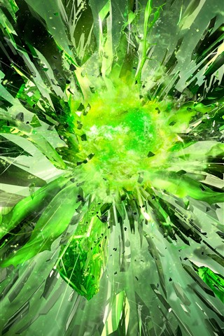 iPhone Wallpaper Green crystals, explosion