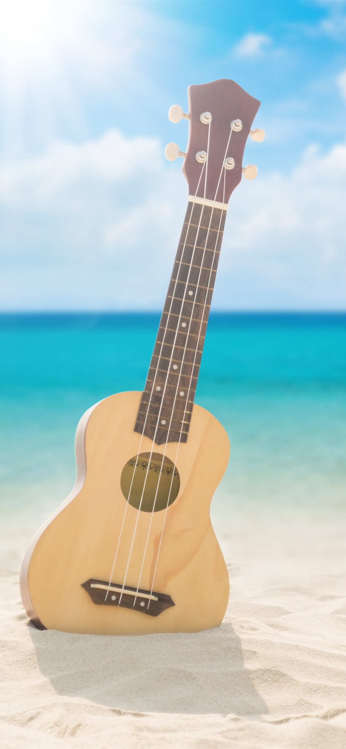 Guitar Beach Sea Clouds Sunshine 1242x2688 Iphone 11 Pro Xs Max Wallpaper Background Picture Image