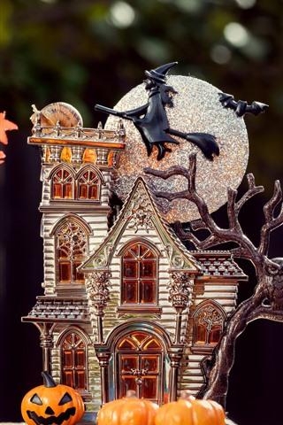 iPhone Wallpaper Halloween theme, house model, moon, pumpkin, tree, leaves