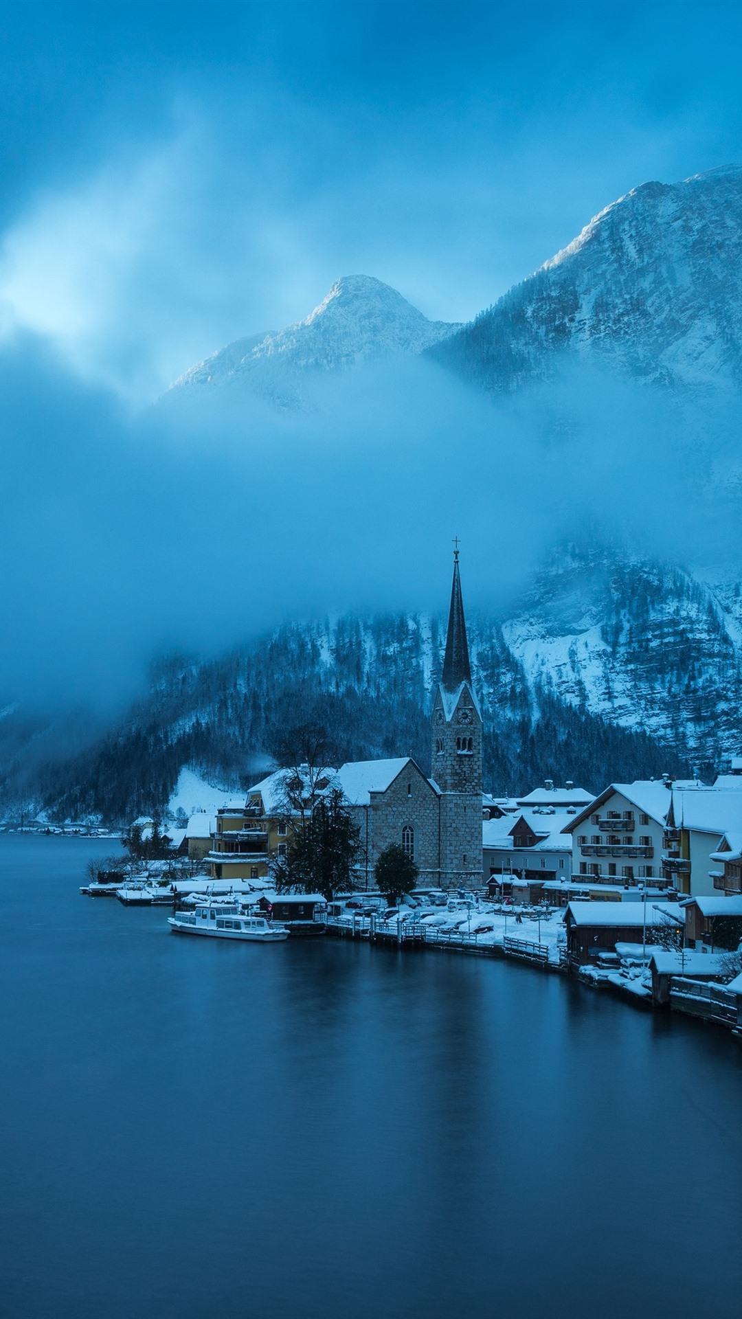 Hallstatt Austria Winter Snow Lake Mountains Fog