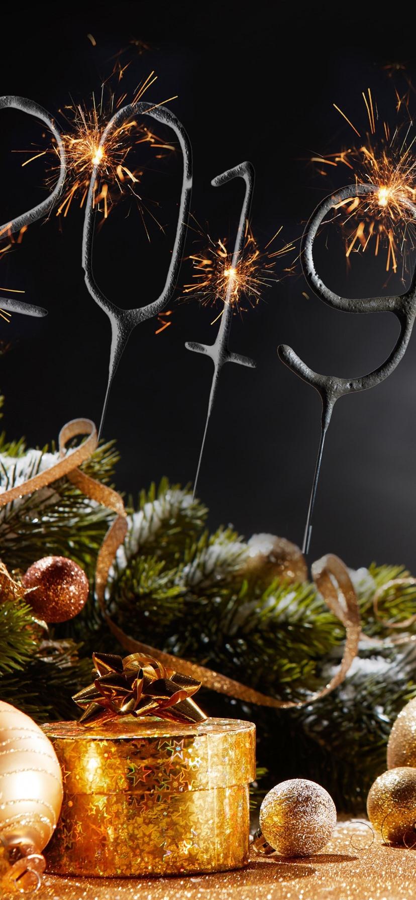 Wallpaper Happy New Year 2019 Christmas Balls Champagne