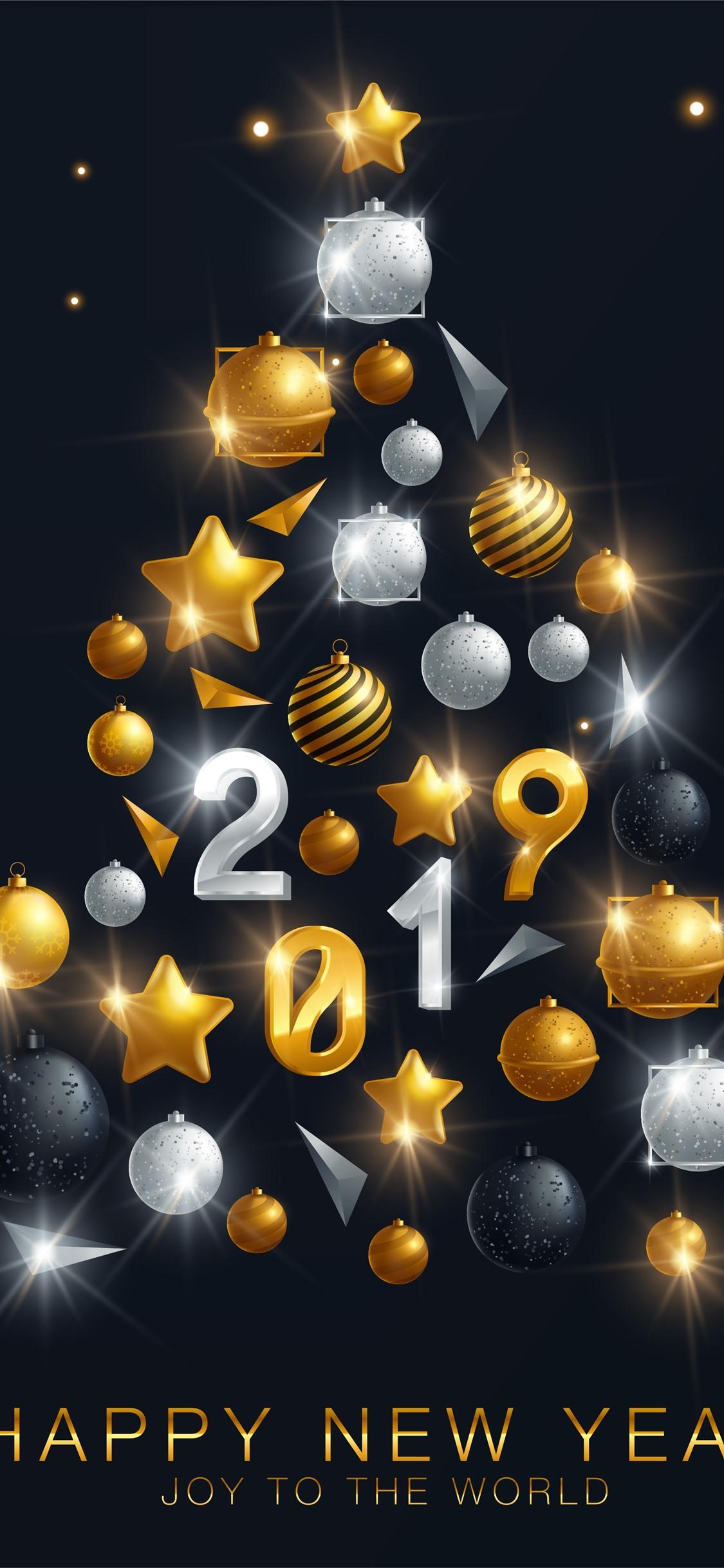 Wallpaper Happy New Year 2019 Christmas Tree Decoration