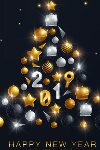 iPhone Fondos de pantalla Feliz año nuevo 2019, árbol de navidad, decoración.