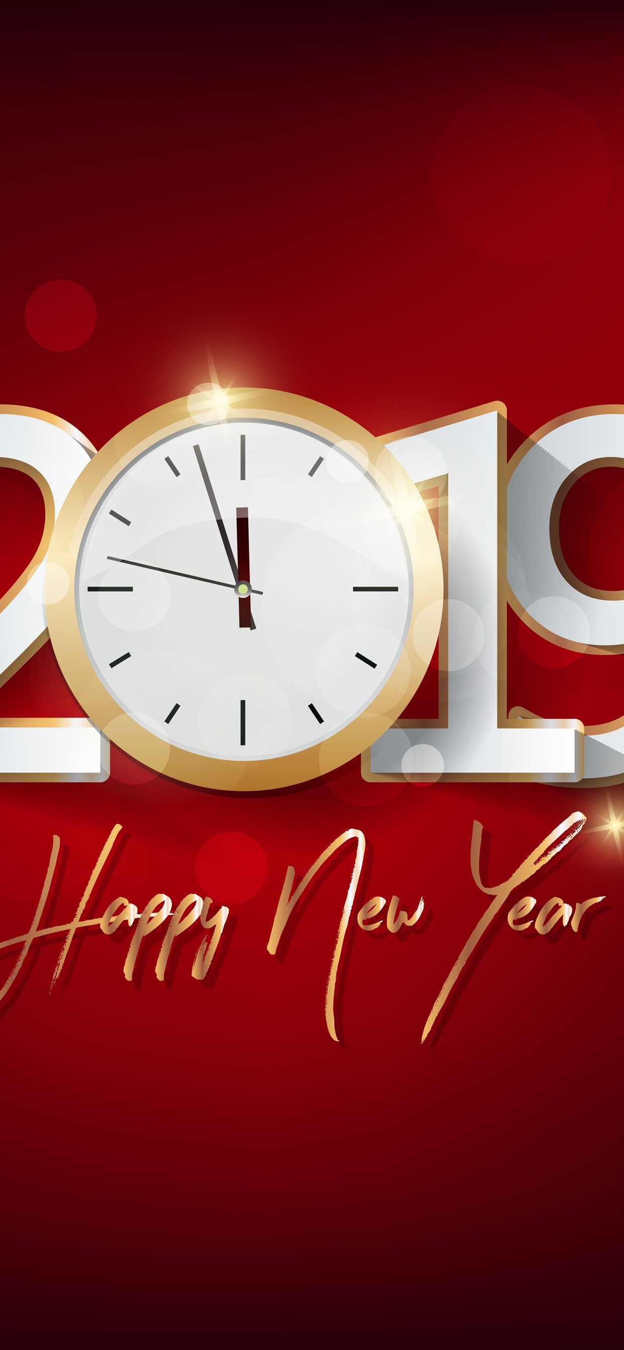 Happy New Year 2019 Clock Red Background 1242x2688 Iphone