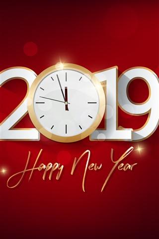 iPhone Fondos de pantalla Feliz año nuevo 2019, reloj, fondo rojo