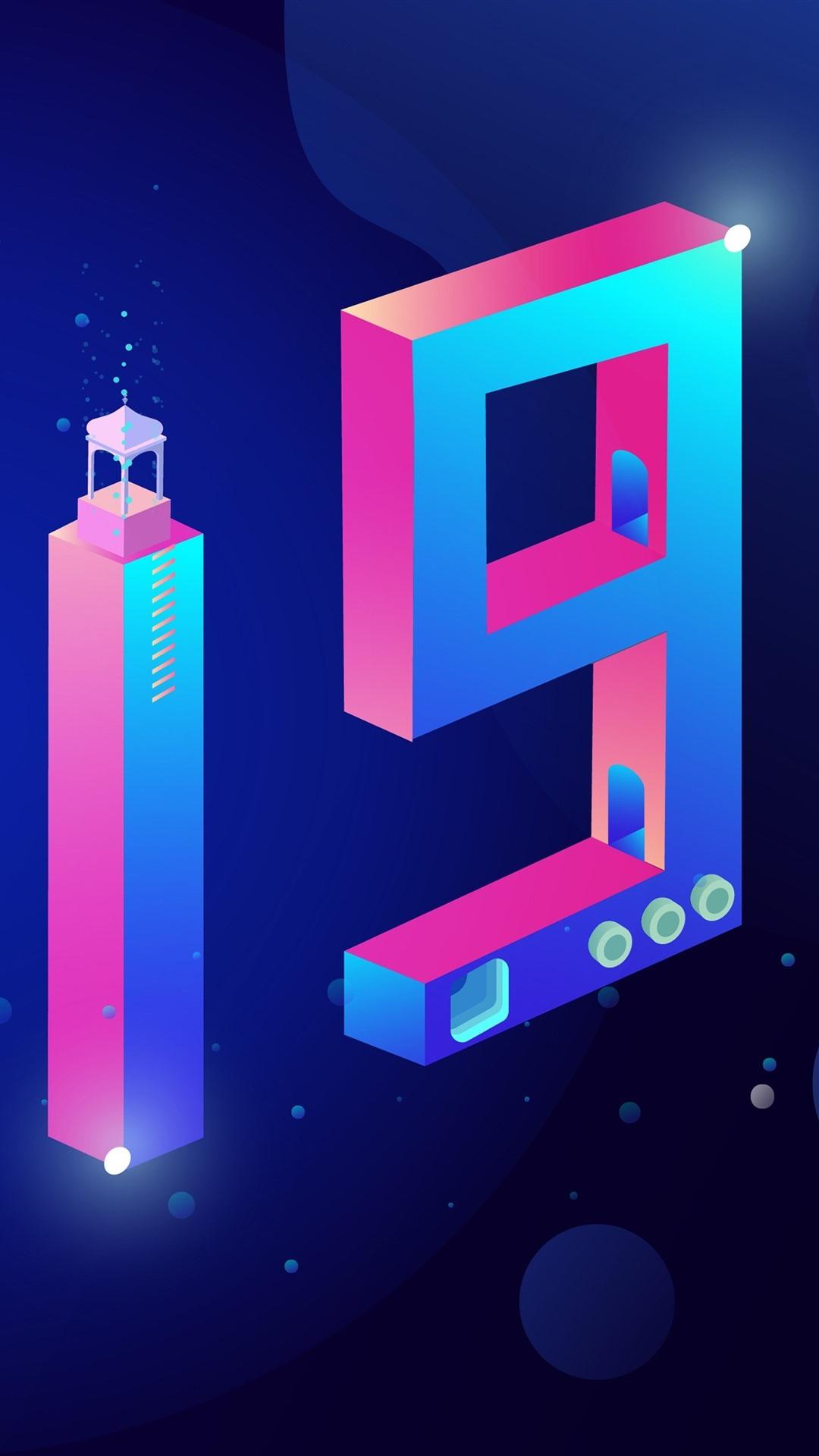 Happy New Year 2019 Creative Design Colorful Numerica 1080x1920