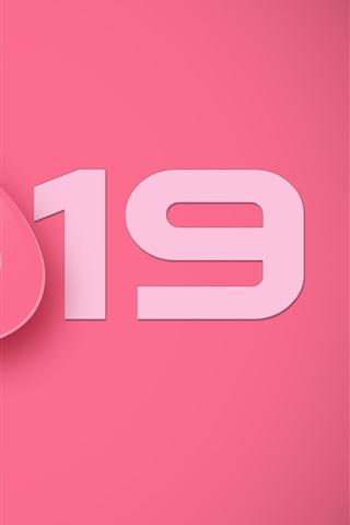 iPhone Fondos de pantalla Feliz año nuevo 2019, nariz de cerdo, estilo rosa