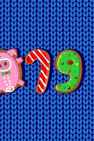 iPhone Fondos de pantalla Feliz año nuevo 2019, año del cerdo, galletas, cuadro del arte