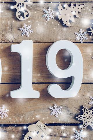 iPhone Fondos de pantalla Feliz año nuevo 2019, blanco numérico, copos de nieve