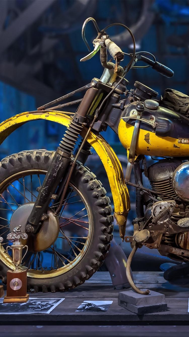 ハーレーダビッドソンレトロオートバイ 750x1334 Iphone 8 7 6 6s 壁紙 背景 画像