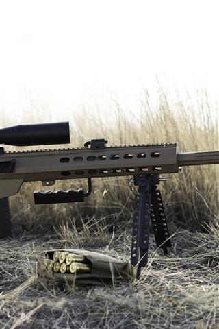 iPhone Fondos de pantalla Rifle pesado, francotirador, arma, hierba