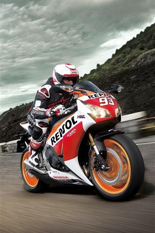 iPhone Fondos de pantalla Motocicleta de Honda CBR1000RR, velocidad, raza
